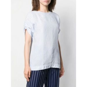 FAY Striped Short-Sleeved Linen Top In Blue Size L